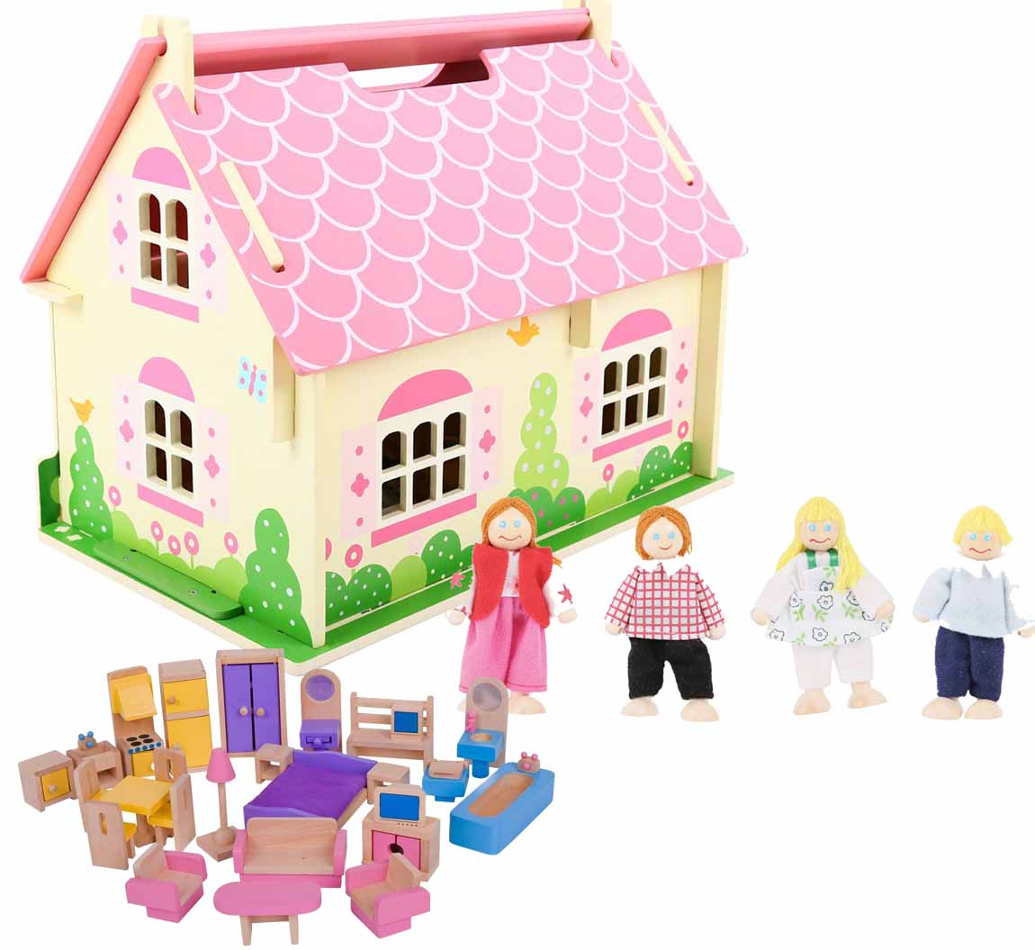 Bigjigs Blossom Cottage Dolls House, Furniture U0026 Family