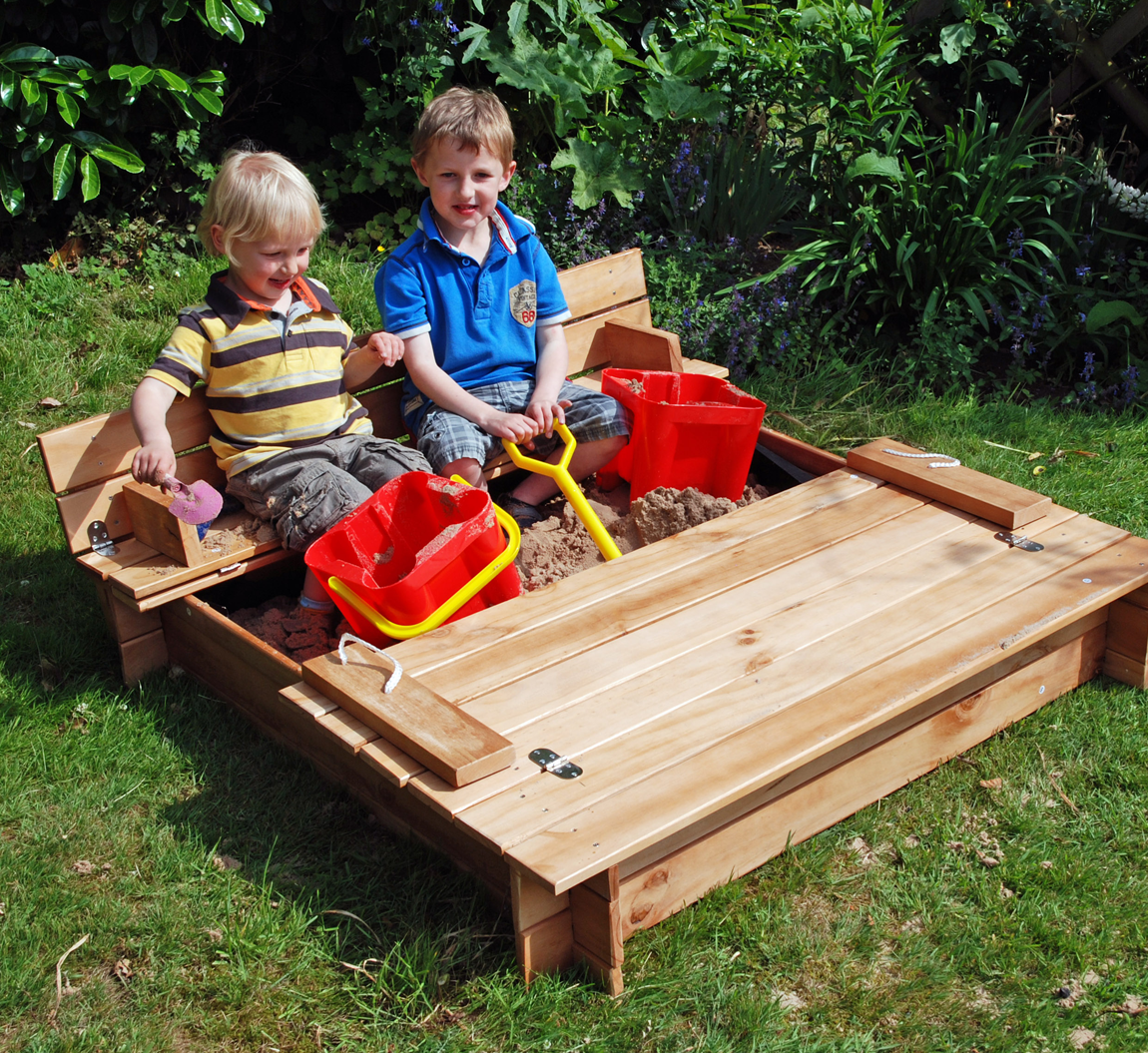 Action Wooden Sandpit Garden Games Square Wooden Sandpit
