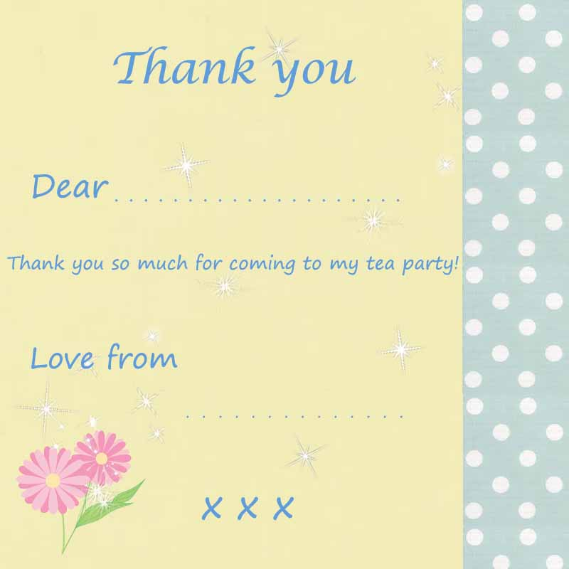 tea party thank you cards